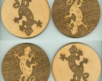 Wood Coasters Gecko - Laser Cut Inlaid Set of Four (CI-215)