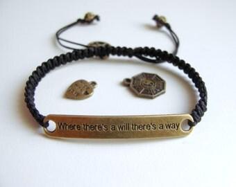 Motivational Bracelet, Unisex Bracelet, Antique Bronze Engraved Macrame Motto Bracelet, Adjustable Bracelet, Pick your CHARM
