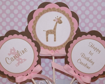 Girl Giraffe Birthday Party Centerpiece by The Party Paper Fairy (GIPB-1)