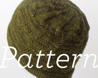 Knit Hat Pattern // ZigZag Swirl Hat - PATTERN ONLY - PDF