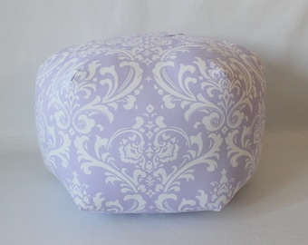 "24"" Ottoman Pouf Floor Pillow Lavender White Damask"