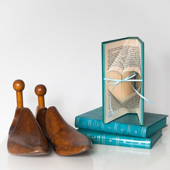 Folded Small Heart Upcycled Book Art Sculpture