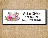 Beautiful Pretty Pink Elegance Roses Teacup and Saucer Personalized Address Labels - Tea cups Pink floral roses