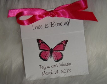 Hot Pink Butterfly Tea Bag Favors for Wedding Bridal Shower Butterflies Birthday Party Favors