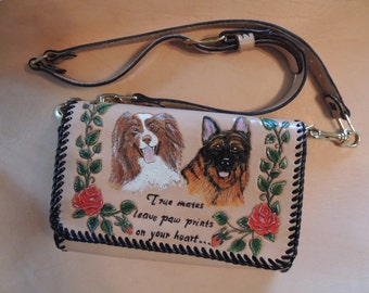 Handcarved Leather handbag custom design with roses and Dogs