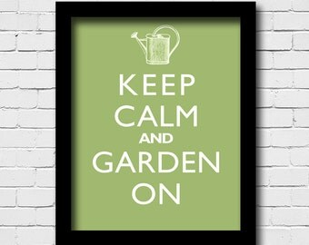 Garden Wall Decor - Keep Calm And Garden On - Antique Watering Can - Art Print