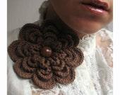 Winter flower- warm cappuccino crochet flower brooch, elegant pin for winter scraf, soft yarn, XL crochet brooch