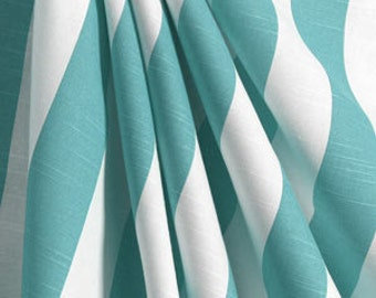 Aqua stripe curtain   Etsy
