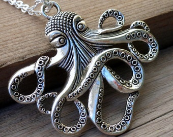Steampunk  Necklace Victorian pendant charm pirate jewelry nautical marine DR. OCTOPUS