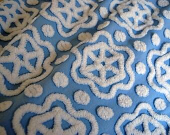 Blue Chenille Star Daisy Hofmann Vintage Chenille Bedspread FABRIC Piece
