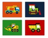 "Construction Nursery Decor // Construction Trucks Wall Art // Trucks Art Prints // Art for Boys Room // Four 8""x10"" PRINTS ONLY"