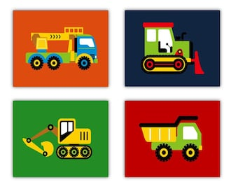 "Construction Nursery Decor // Construction Trucks Wall Art // Trucks Art Prints // Art for Boys Room // Four 8""x10"" PRINTS ONLY"