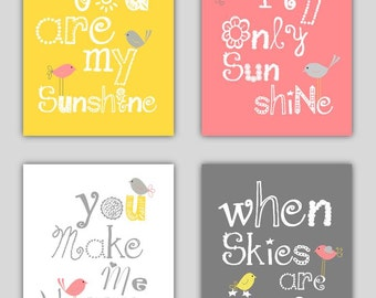 You Are My Sunshine Nursery Decor // Pink Gray and Yellow Art Prints //Pink and Yellow Art For Kids //Girls Nursery Art //4-8x10 PRINTS ONLY