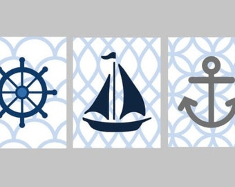 Nautical Nursery Wall Art - Navy Blue Nursery Decor - Nautical Art for Kids - Nautical Nursery Decor - Sailboat Art - Three 8x10 PRINTS ONLY