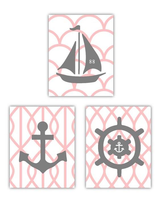pink and gray art nautical nursery wall art by littlepergola. Black Bedroom Furniture Sets. Home Design Ideas