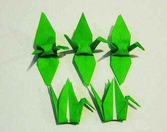 """100 3"""" Bright green origami cranes paper cranes wedding party decoration single color"""