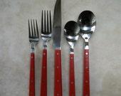 Reserved for EM  Red Hard Plastic Flatware for 4