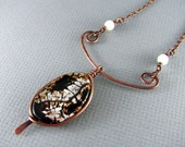 Wire Wrapped Necklace Crackle Agate And Copper Necklace Wire Wrapped Jewelry Free Form Wire Wrap