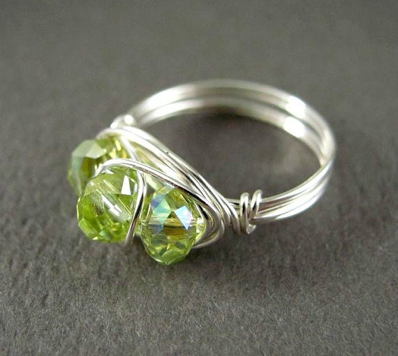 Wire Wrapped Jewelry Silver Wire Ring Nickel Free Peridot August Birthstone Ring