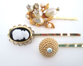 Gold Wedding Hair Piece Bridal Hairpins Cameo Pearl Clips Accessories  Bobby Pin Clip