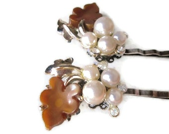 Pearl Bridal Hairpins Clips Vintage Hairpins Accessories Bobby Pins Jeweled Hairpieces