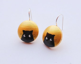 Hand painted Gold earrings with black cat