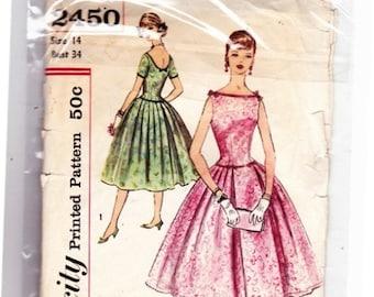 Simplicity 2450 Vintage 1958 Dress Full Skirt Short/ Sleeveless Pattern- 3