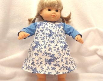 Cornflower blue on white print Baby Doll Jumper with Bloomers and light blue Jersey.
