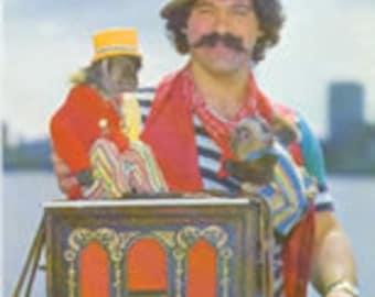 vintage Hurdy Gurdy Monkey & Me Postcard, Tony Lupo and Coco, 1980s,New England, MA.