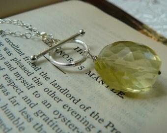 Juicy lemon quartz lariat necklace with sterling silver