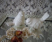 2 White birds, Romantic Cottage Painted Birds, Heirloom white, PAIR