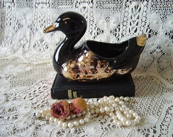 Black and Gold  Vintage duck planter, Romantic cottage
