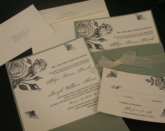 """Wedding Invitation Suite, """"Two Sweet Bees"""", Vintage, Bees, Rose, Square, Shabby Chic, Pocket, Unique, Christian, French, Romantic, Rustic"""