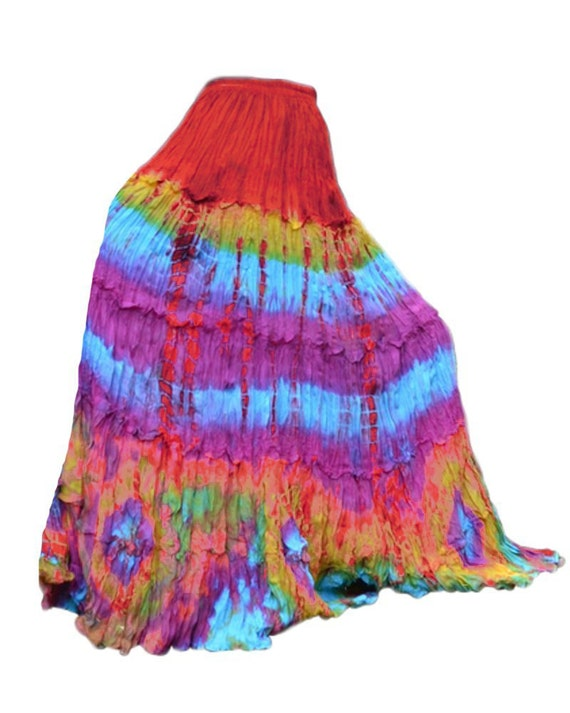 Colorful Tie Dye Maxi Long Skirt Tiered Ruffle Skirt Hippie
