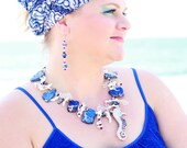 OCEAN DEPTHS Handcrafted Mother of Pearl & Verasite Jasper Under the Sea Inspired Statement Necklace