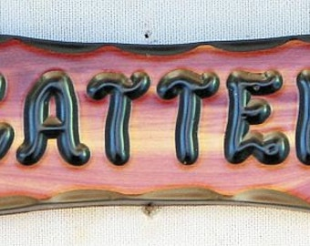 "CedarCutts Rustic Custom Carved 3.5"" x 10"" x 1"" Dog Bone Shape Red Cedar Wood Sign"