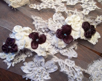 Bridal Shoe Clips, Eggplant and Ivory Violets and Lace Shoe Clip, Wedding Shoe Clips
