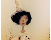 Party girl with little dog cloth art doll by Hope Rayel Morgan