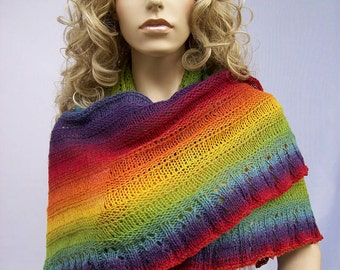 Piece of the rainbow (knitted shawl) lovely wedding wool unique kauni lace