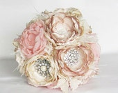 Fabric flower bouquet . Vintage . feather trim . Blush pink ivory champagne peony roses in ANY COLOR