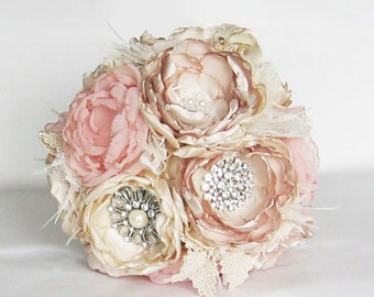 Fabric flower brooch bouquet . Vintage Wedding . Ostrich feather trim . Pink ivory champagne peony roses in ANY COLOR