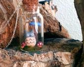 Tiny Totoro in the Rain Terrarium Necklace