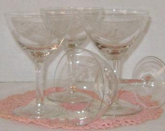 Vintage Etched Crystal Stemware Set of 5 glasses