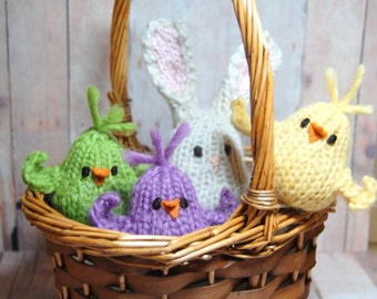 Waldorf Birds and Bunny Spring Easter Basket - Bunny and Chicks Soft Toys - Nature Table - Bunny Rabbit