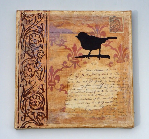 Original Art, Bird Wall Plaque, Collaged Mixed Media