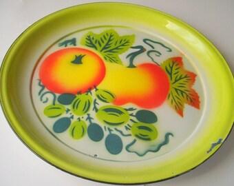 Vintage Enamel Platter, Large Graniteware Platter, Bright Summer Enamel Platter