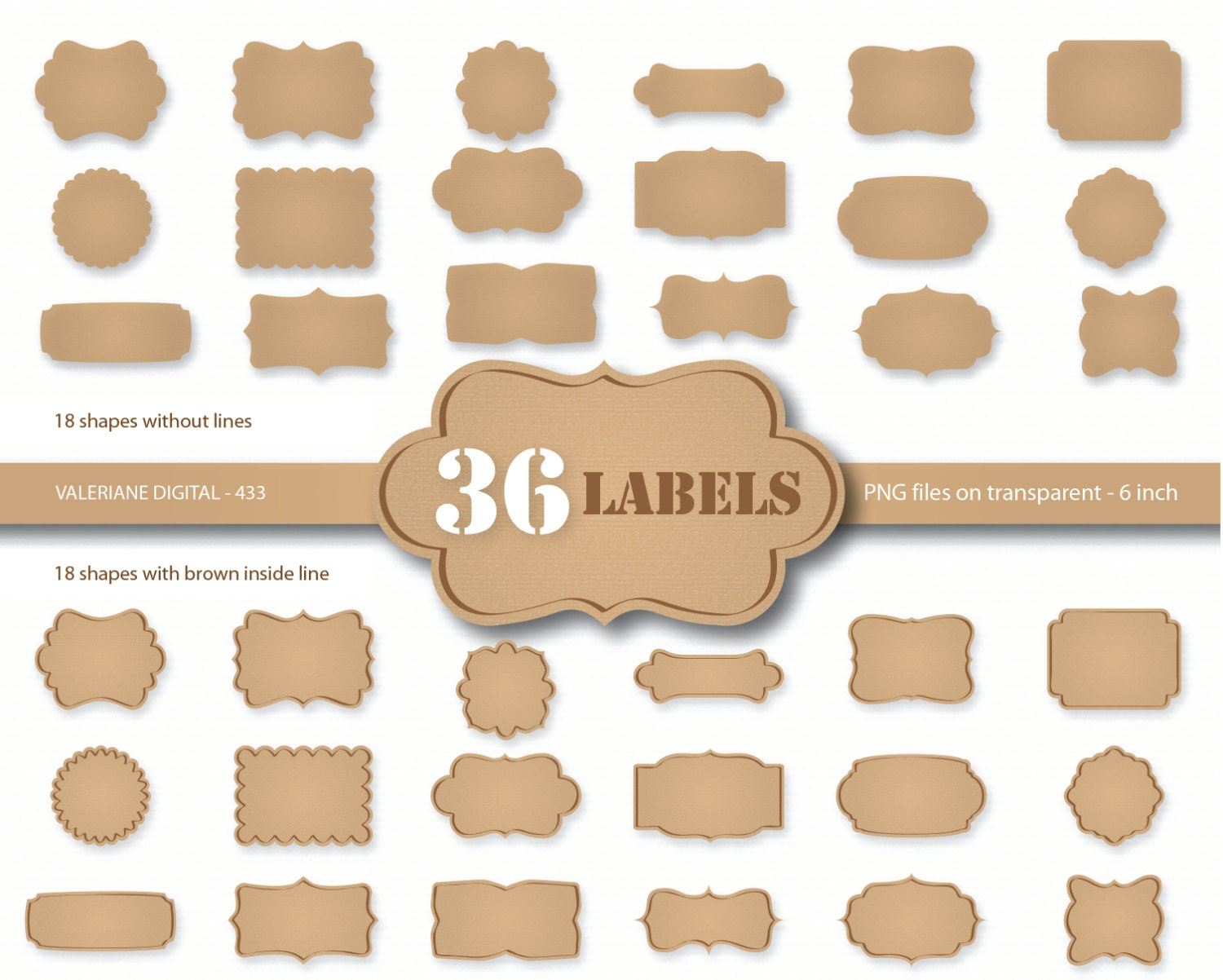 36 Kraft paper labels digital cardboard clip art Kraft