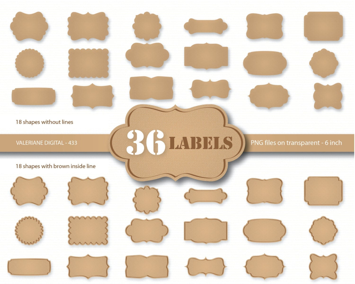 Labels: 36 Kraft Paper Labels Digital Cardboard Clip Art Kraft
