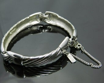 Vintage Monet Silver Tone Bracelet With Safety Chain