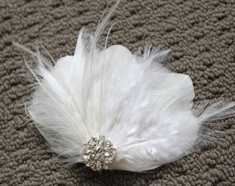 Wedding Bridal White Light Ivory Feather Rhinestone Jewel Head Piece Hair Clip Fascinator Accessory